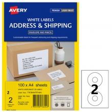 艾利(AVERY)L7660 2枚/张 光盘标签/ 快揭激光打印标签 邮寄标签 白色 A4 100张装
