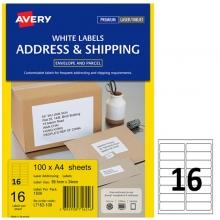 艾利(AVERY)L7162 16枚/张 快揭激光打印标签 邮寄标签 白色 A4 100张装