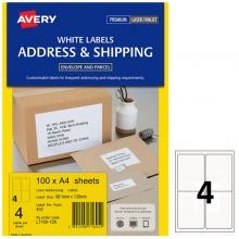 艾利(AVERY)L7169 4枚/张 快揭激光打印标签 邮寄标签 白色 A4 100张装