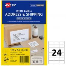 艾利(AVERY)L7159 24枚/张 快揭激光打印标签 邮寄标签 白色 A4 100张装