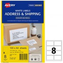 艾利(AVERY)L7165 8枚/张 快揭激光打印标签 邮寄标签 白色 A4 100张装