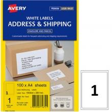 艾利(AVERY)L7167 1枚/张 快揭激光打印标签 邮寄标签 白色 A4 100张装