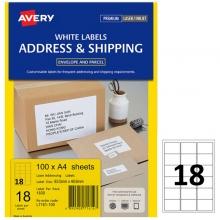艾利(AVERY)L7161 18枚/张 快揭激光打印标签 邮寄标签 白色 A4 100张装