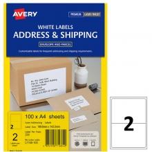 艾利(AVERY)L7168 2枚/张 快揭激光打印标签 邮寄标签 白色 A4 100张装