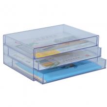 钊盛(ZSSI)ZS-8803 三层 透明色文件柜/桌面文件柜 颜色随机