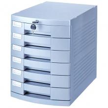 钊盛(ZSSI)ZS-P266 六层带锁 银色带滑轮文件柜/桌面文件柜/抽屉文件柜