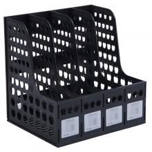 钊盛(ZSSI)ZS-884 四联资料架/文件栏/杂志架/文件框 A4 黑色