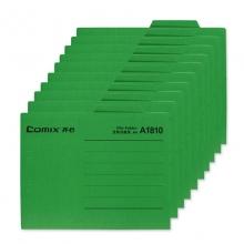 齐心(Comix)A1810 纸质文件夹/分类夹/分类卡/纸夹/单片夹横式二页夹 A4 绿色 十个装