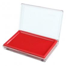 齐心(Comix)B3720 长方形透明壳快干印台 135*85mm 红色
