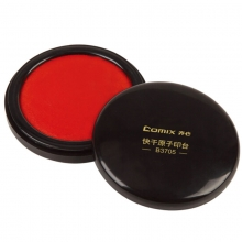 齐心(Comix)B3705 圆形快干原子印台 85mm 红色