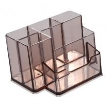 齐心(Comix)B2248 多功能透明笔筒/笔座/分类盒 透明茶色