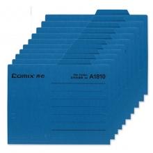 齐心(Comix)A1810 纸质文件夹/分类夹/分类卡/纸夹/单片夹横式二页夹 A4 蓝色 十个装