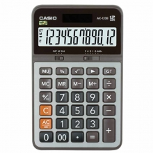 卡西欧(CASIO)AX-120B 商务计算器 中型机 12位 金属面板/灰色(AX-120S升级款)