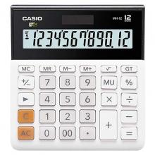 卡西欧(CASIO)MH-12-WE 小型超宽商务计算器 12位 白色