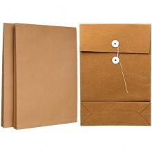 永硕(UOSO)200克 8cm A4牛皮纸档案袋资料袋绕绳袋(空白版)25只装
